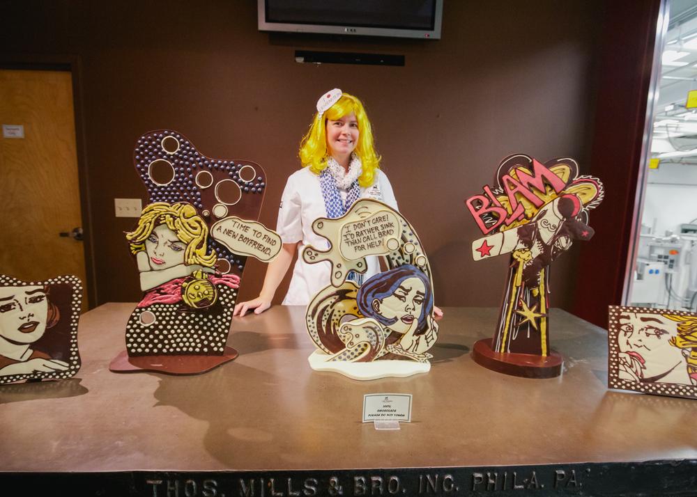 Emily McCracken and her chocolate Lichtenstein chocolate exhibit.