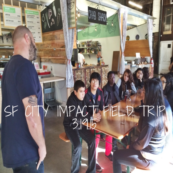 Students from SF City Impact students completed a Venture: Entrepreneurship program through Everfi. The program features a simulated food truck business, so students came to the Hall to learn about vendors' stories and ask questions regarding starting up a food business over lunch.