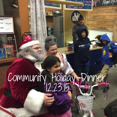We welcomed in the Tenderloin community for a free holiday dinner, complete with Santa and Mrs. Clause and a gift giveaway courtesy of GLIDE Memorial Church.