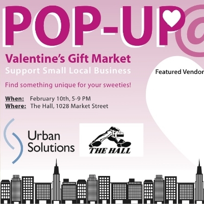 Join Urban Solutions and the small businesses they support in a pop up retail mart at the Hall! Find something sweet for your sweetie, or treat yo'self!