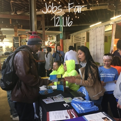 The Hall, in partnership with the SFPD, hosted a jobs fair for youth in the Tenderloin. Approximately 80 youth attended, and four were hired on the spot.