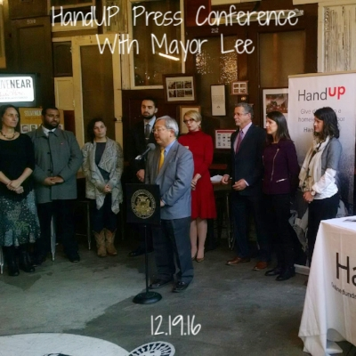 The Hall hosted HandUP and Mayor Ed Lee for a press conference announcing HandUP's innovative solution to helping our neighbors who are experiencing homelessness: Gift Cards that simultaneously give individuals access to resources while helping them get access to services.
