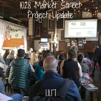 Tidewater hosted its monthly project update breakfast to inform the community about the 1028 Market Street development project that is planned to take the place of the Hall, which has always been planned as a temporary use of space.