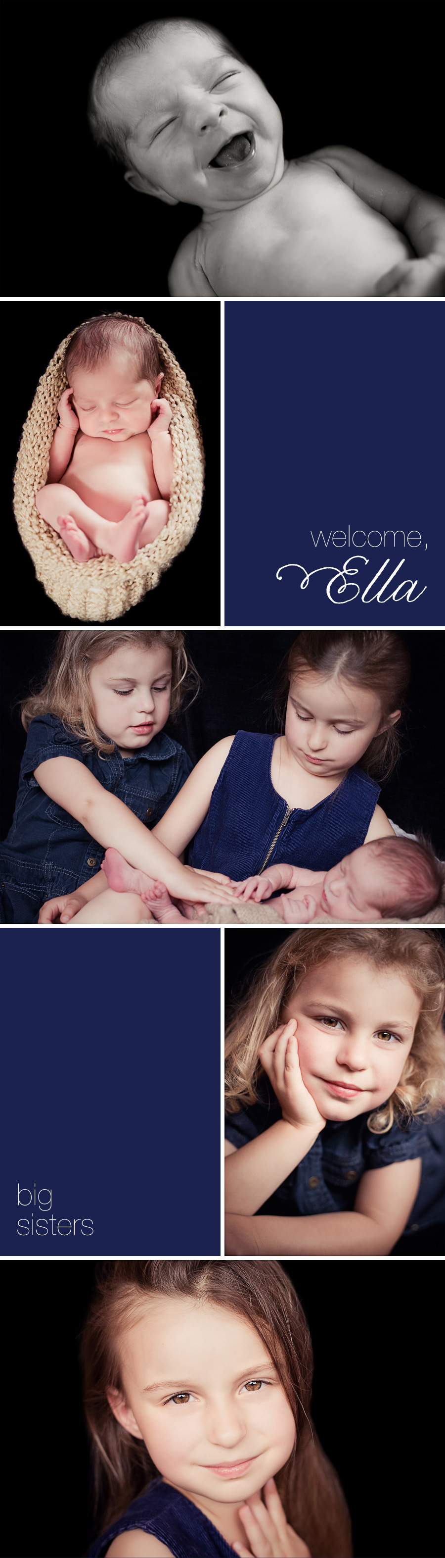 portrait session with an infant and her older sisters - photos by newborn and children's photographer Gillian Crane