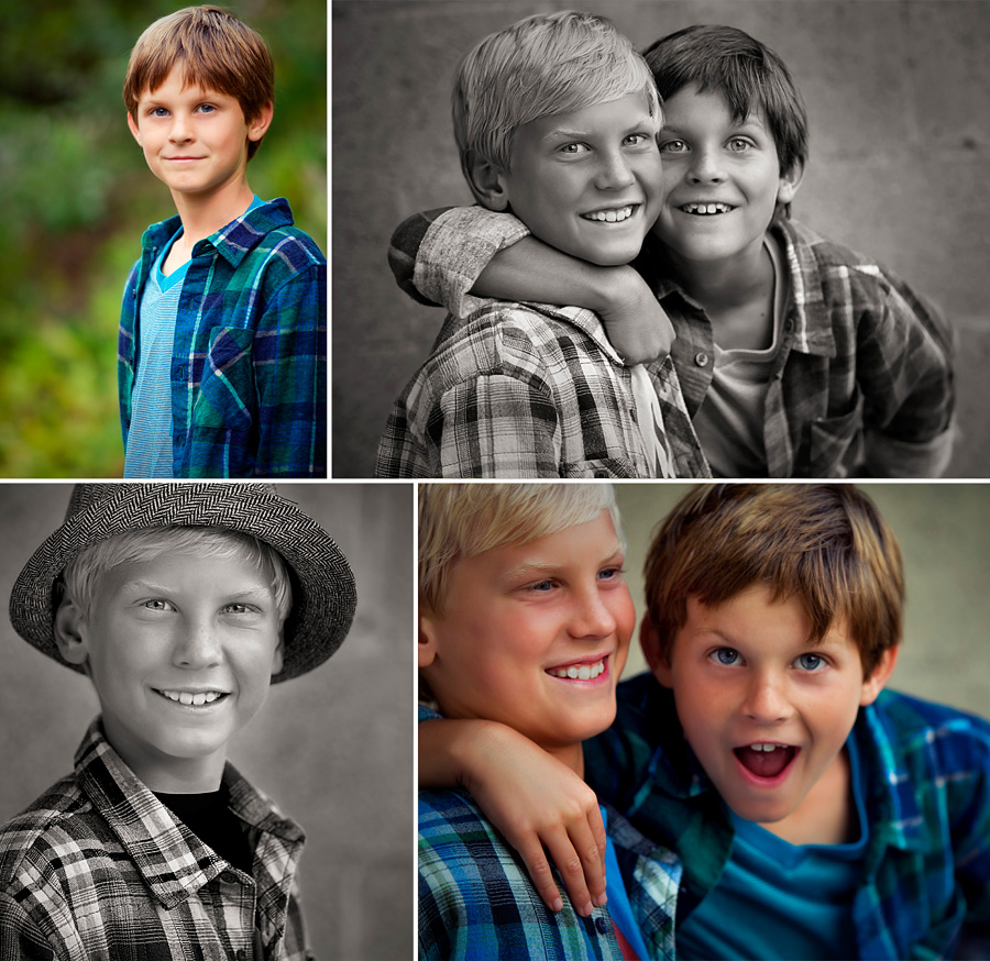 photos from a recent kids portrait session for holiday cards