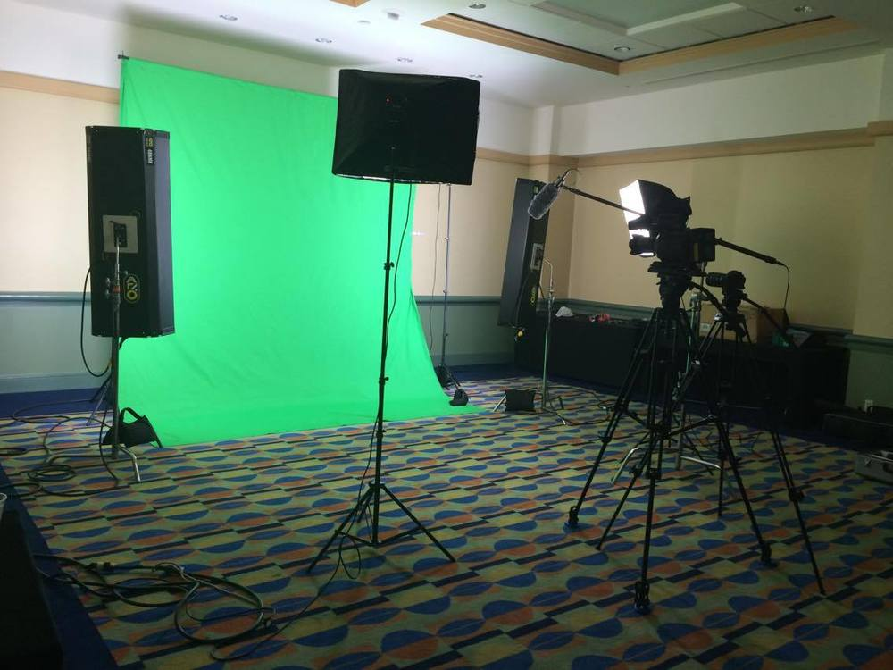 Green screen set at the Convention Center, Orlando
