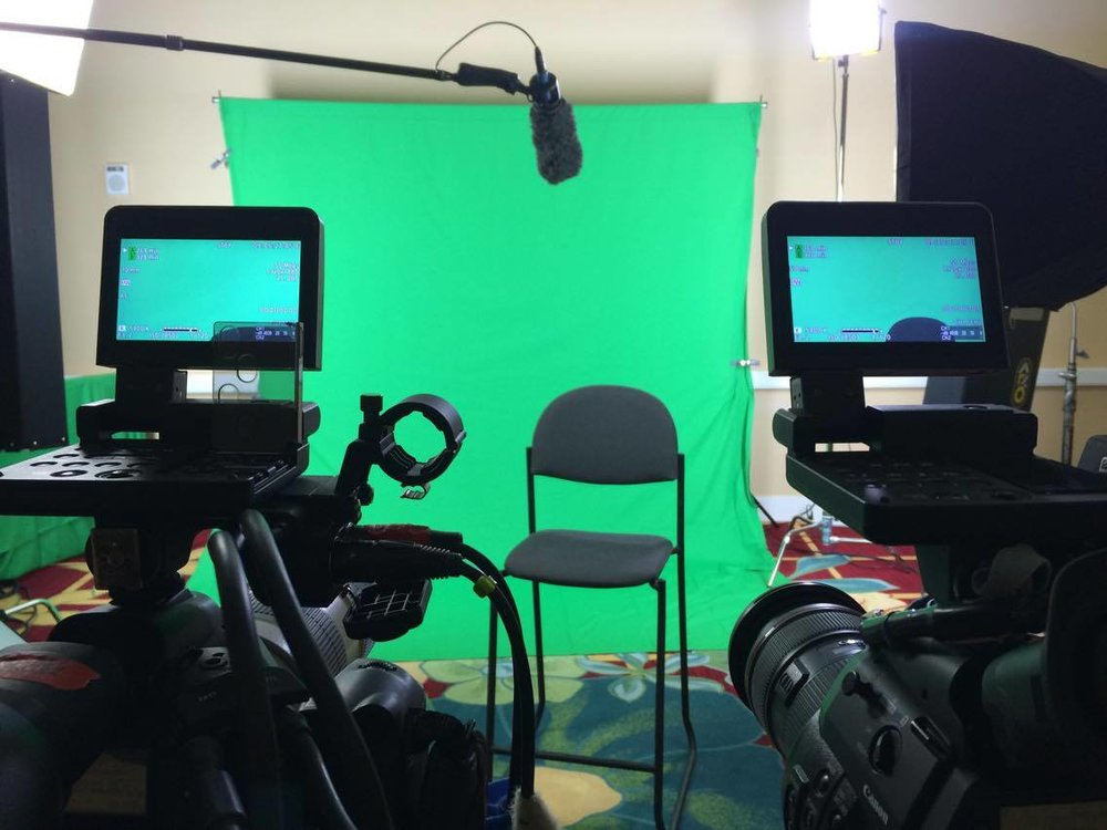 Green screen set up at the Conventional Center, Orlando