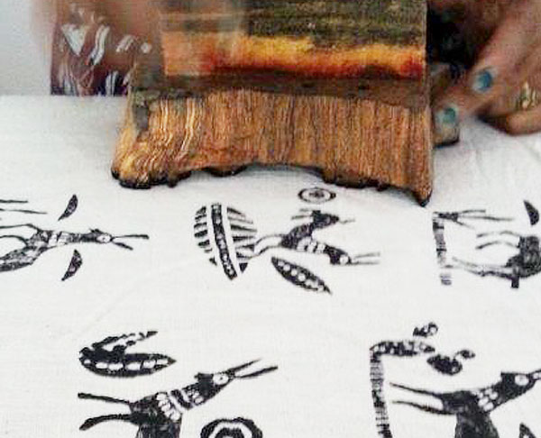 Test block printing on khadi handwoven cotton