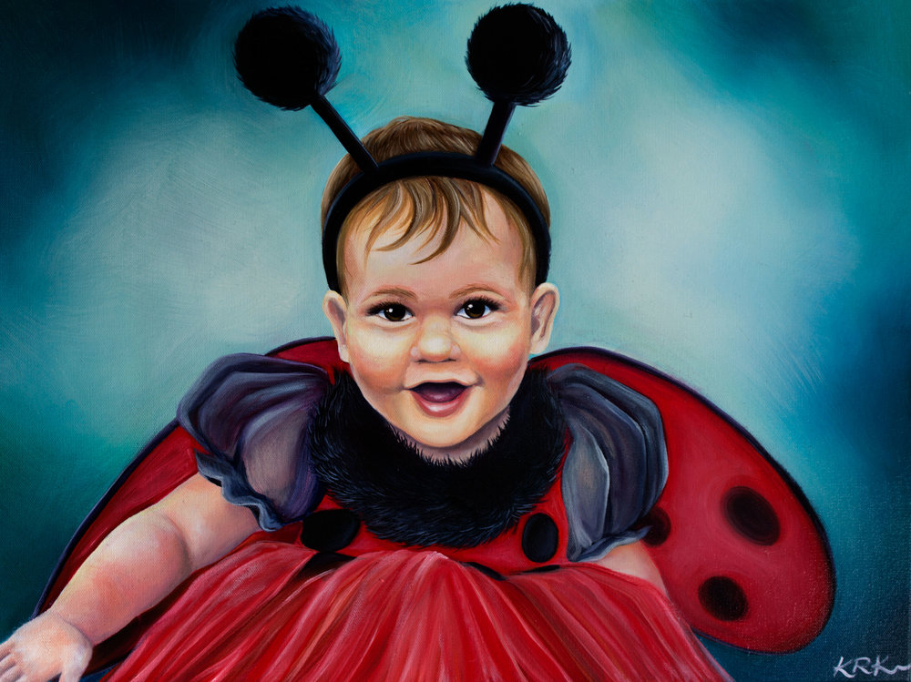 """Ladybug"" Oil on canvas 18""x24"" 2016 commission"