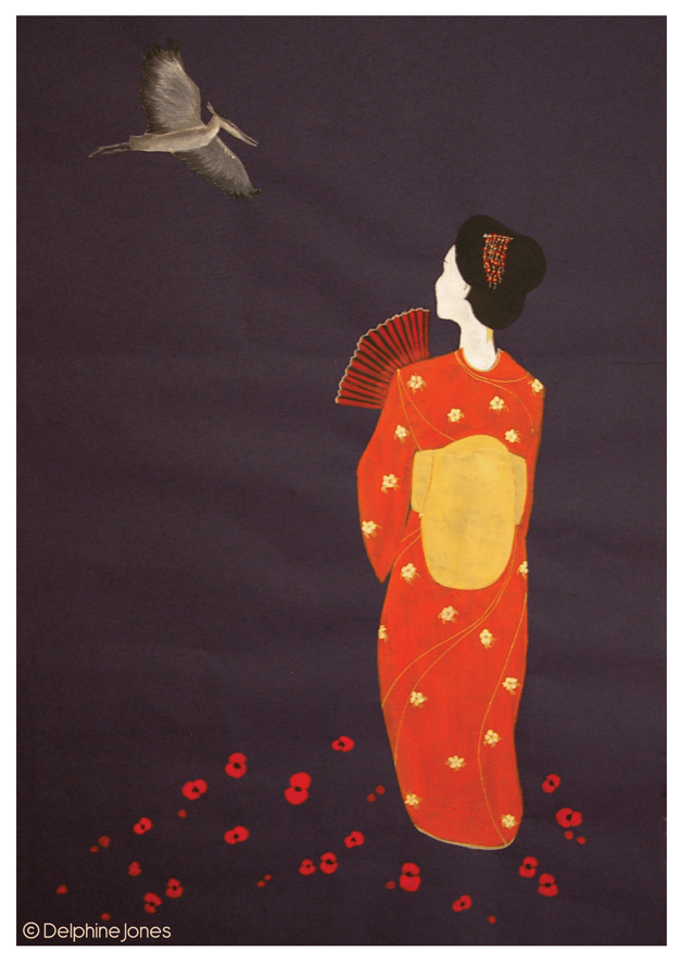 Geisha with Crane