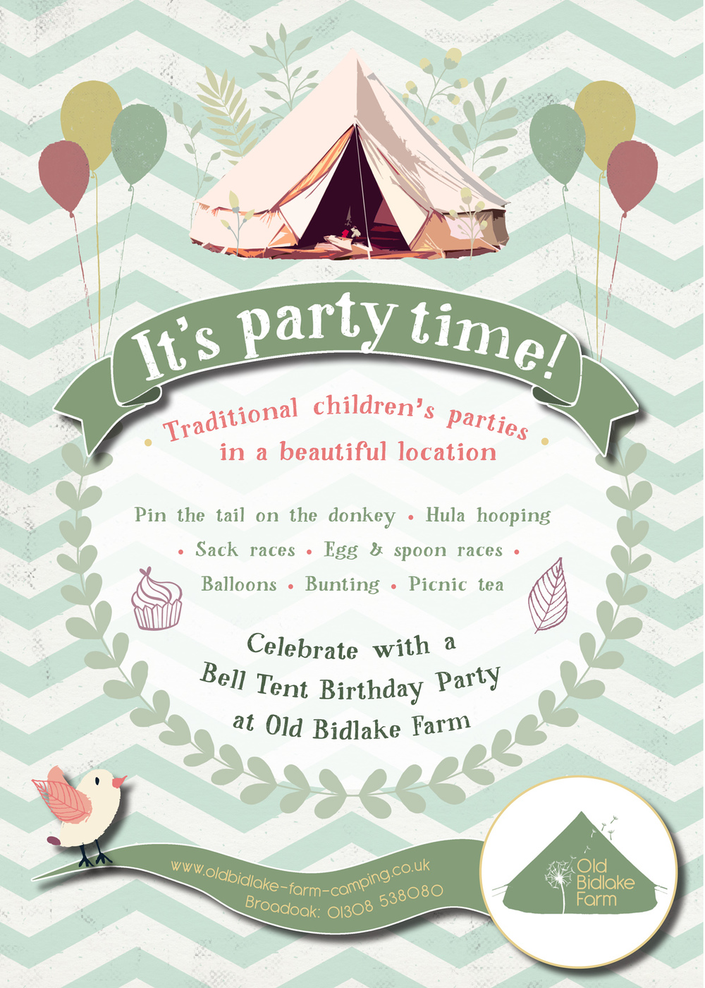 Bell Tent birthday parties flyer
