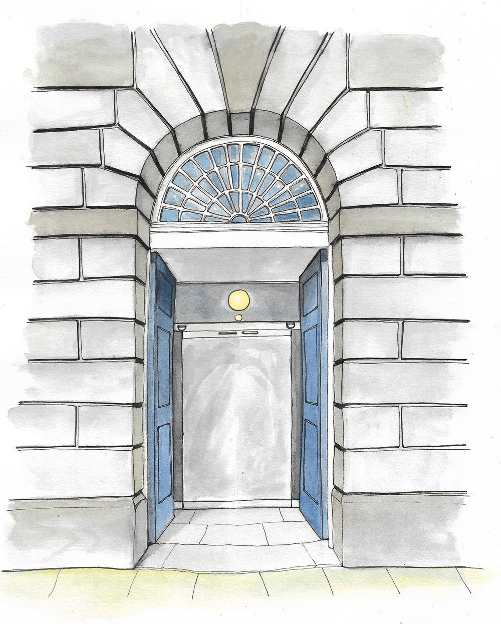 Client: Shire Hall Courthouse & Museum  Brief: Illustrate the entrance to make a gatefold card for the launch invitation