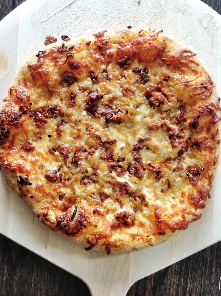 Spicy Sausage Pizza with Caramelized Onions