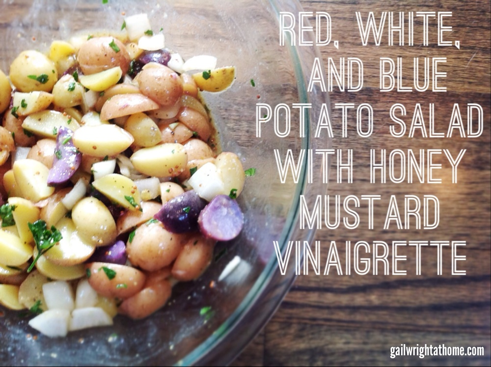 Red White and Blue Potato Salad with Honey Mustard Vinaigrette