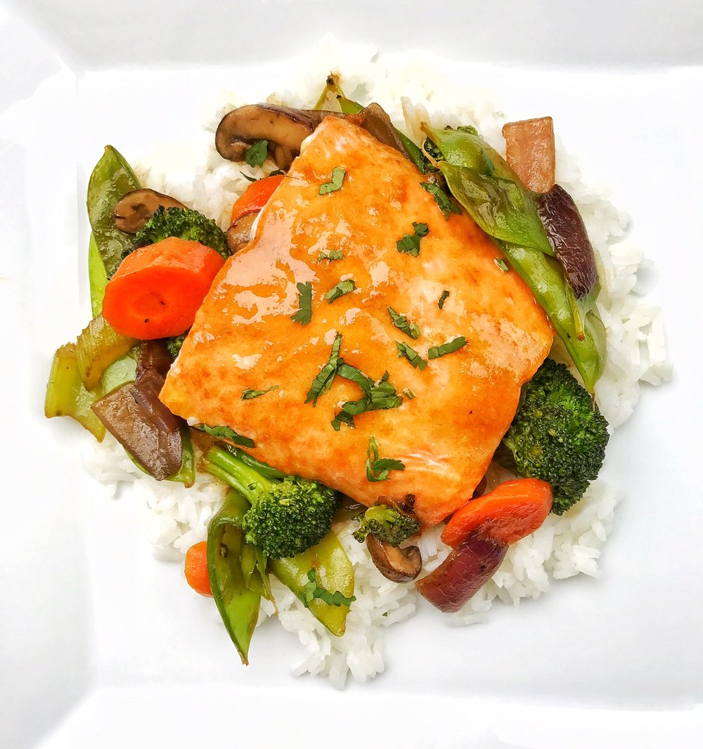 Asian Salmon with Stir Fry Veggies and Jasmine Rice