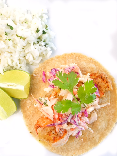Jerk Shrimp Tacos with Sweet Chili Slaw