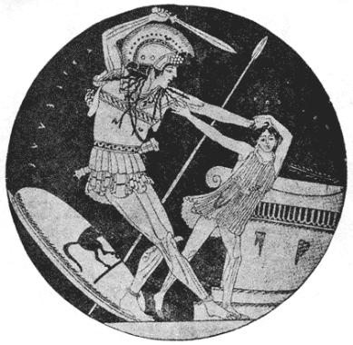 Der griechische Held Achilles killt Troilus nach der Eroberung von Troja. Eine Heldentat? — Man beachte den Größenunterschied.