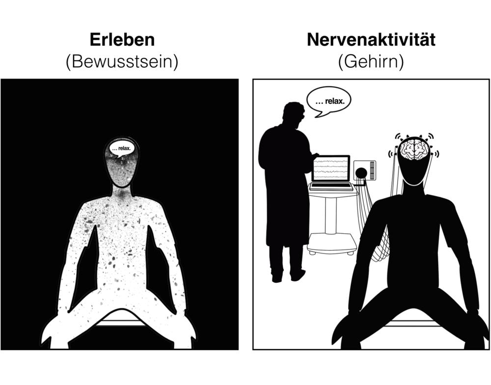 Grafik 1:Hirnwellen haben ihren Ursprung im Gehirn (rechts). Erlebnisse findet man im Bewusstsein (links). Zwischen beiden Bereichen besteht ein Zusammenhang, aber keine Übereinstimmung.