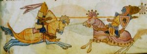 Miniature from the Luttrell Psalter ca. 1335-1340 of Richard the Lionheart unhorsing Saladin.
