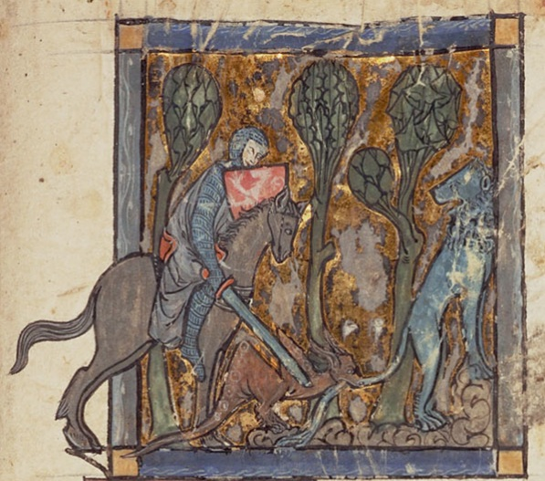 Yvain rescues the lion