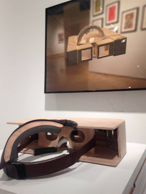 Analog Oculus  by Hudson Sharrock 3D render, plywood, mirrors, foam, elastic fabric, velcro  Final Project