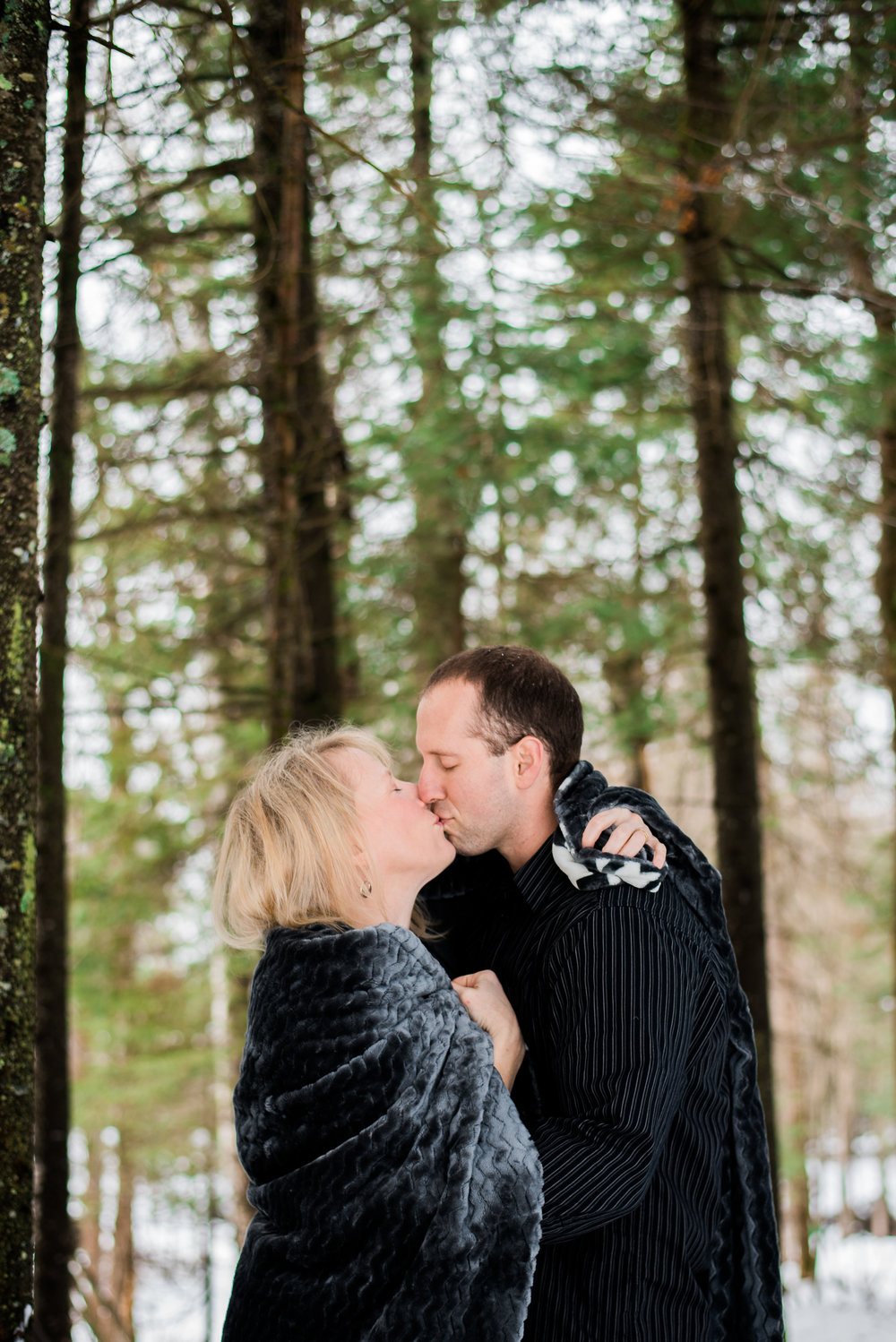 kiss in the woods