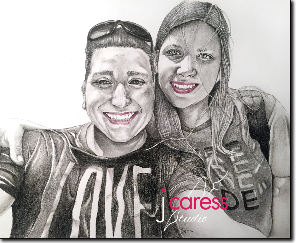 J. Caress Studio  Graphite Portrait of Taryn and Marcelle at  NYC Pride  in June 2016
