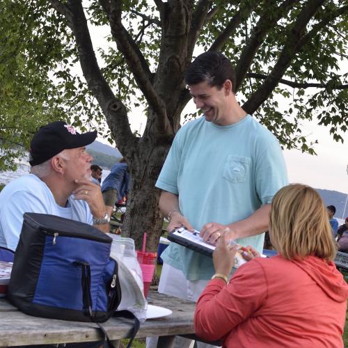 Ken Walsh gathering petition signatures at Senasqua