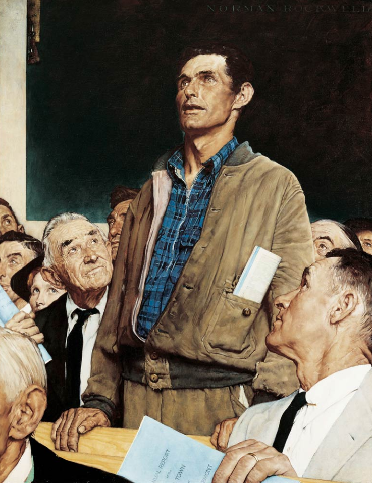 Freedom of Speech by Norman Rockwell. A print of this famous painting hangs in the room where Board of Trustees meetings are held.