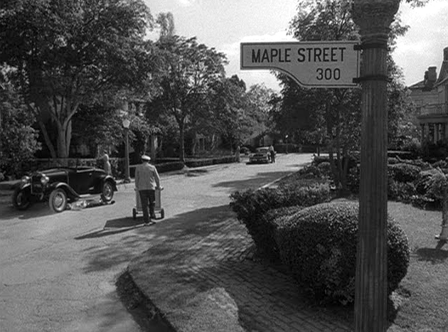 "Scene from the Twilight Zone episode ""The Monsters Are Due on Maple Street."""