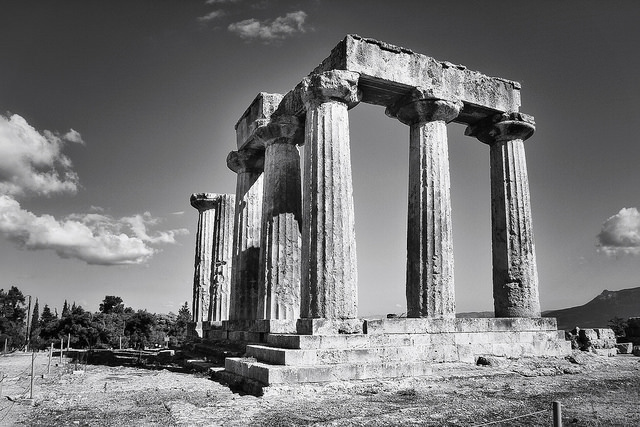 What is left of a temple built for the Greek god Apollo.