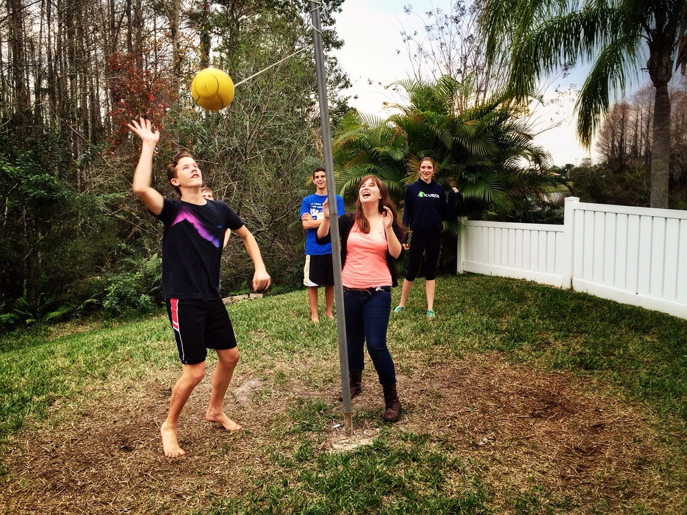 Cole's 14th celebration included a truckload of friends, volleyball, soccer, tetherball, burgers and dogs, s'mores around the firepit, and (drum roll) a viewing of Guardians of the Galaxy to top it all off.