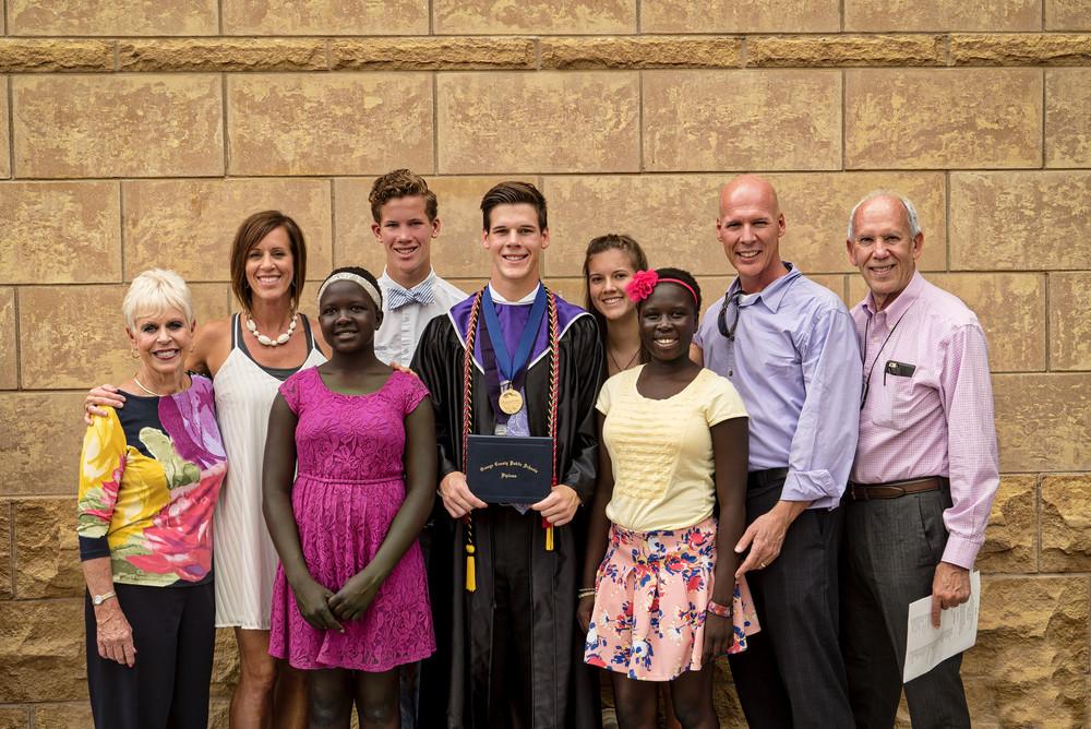 Keegan's proud family, including Grandma and Grandpa Halversen