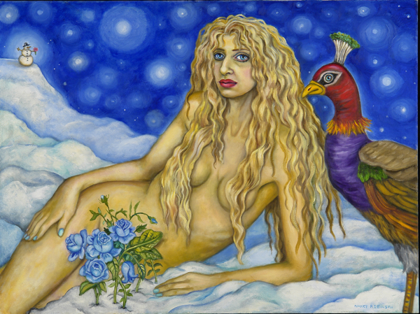 "Self-portrait as Venus, Goddess of Love , 2007, oil on canvas, 30"" x 40"""
