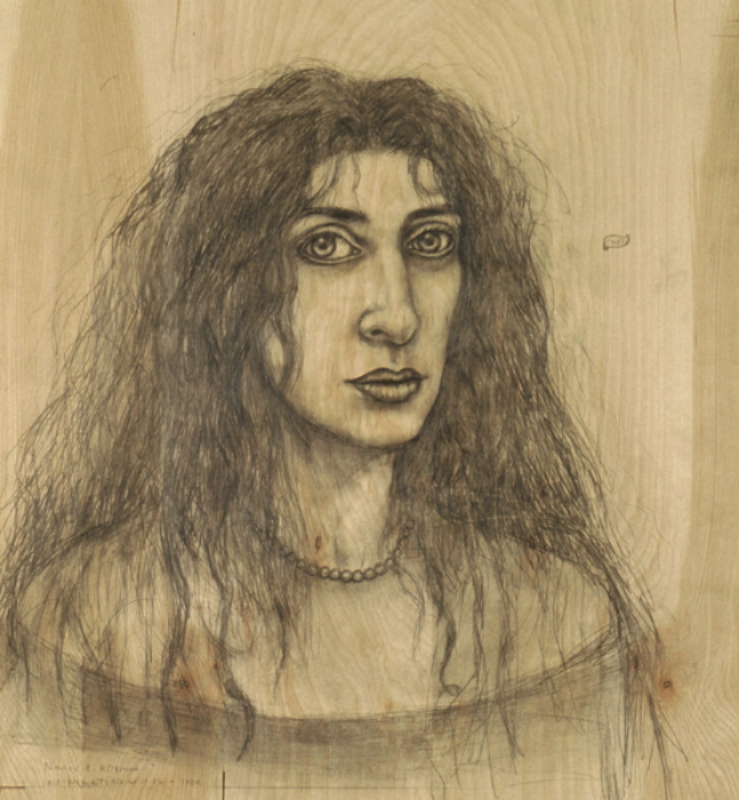 "Ask Me if I'm a Tree, 2001, graphite on wood, 21-3/4"" x 23-1/2"""