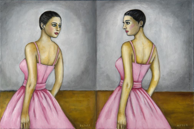 "Before and After IV,  2009, oil on canvas, 24"" x 36"""