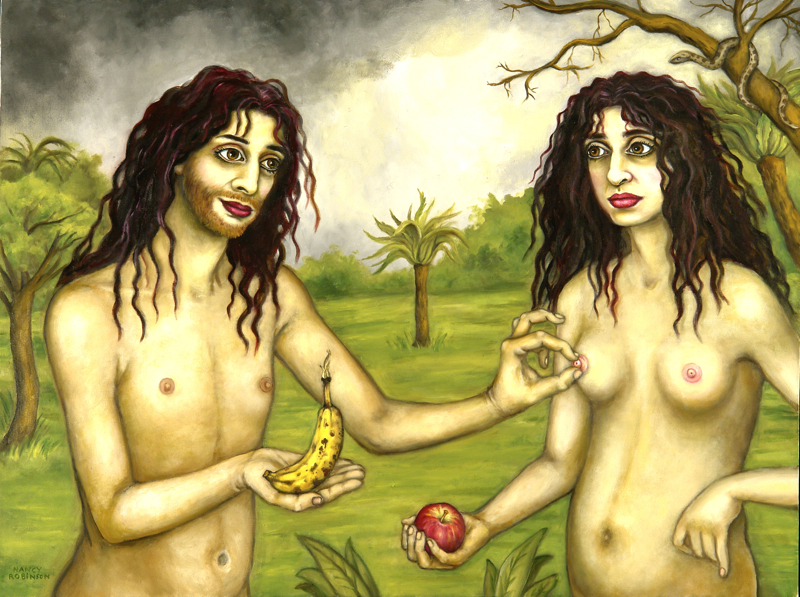 "Self-portrait as Adam and Eve  , 2009. oil on canvas, 30"" x 40"""