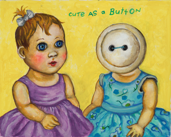 "Cute as a Button, 2013, gouache and thread on bristol paper, 8"" x 10"""