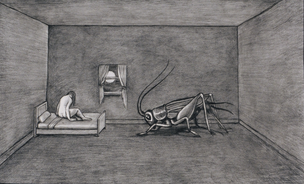 "The Insomniac, 1997, graphite on bristol paper, 15"" x 22"""