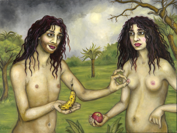 "Self-portrait as Adam and Eve , 30"" x 40"" oil on canvas"