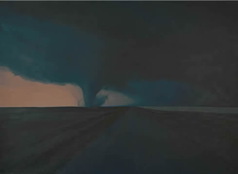 "Dark Highway, 51""x68"", oil on paper"