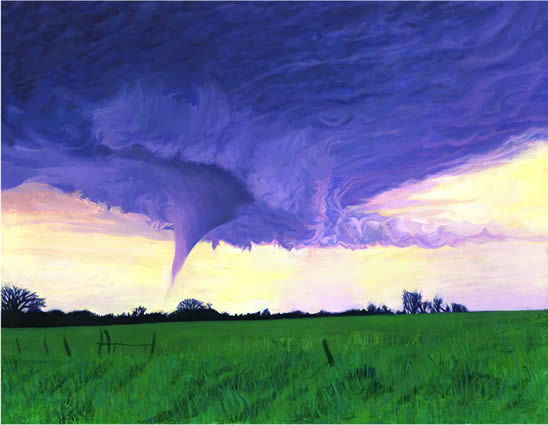 "Sunshine Supercell, 16""x20"", oil on paper, after Marshall"