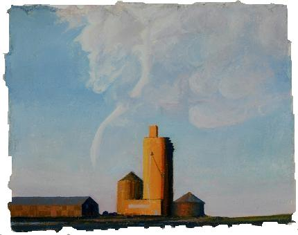 "Harbinger of Post Agrarian America, 4 3/4""x6"", oil on paper"