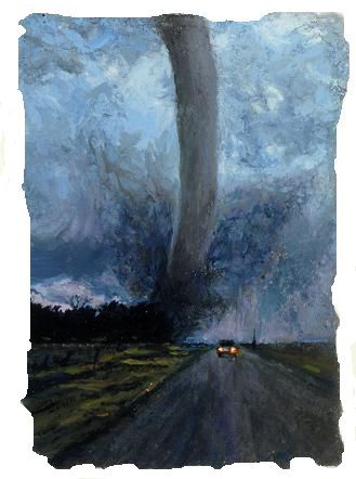 "Storm Chaser, 4 1/2""x3 1/4"", oil on paper"