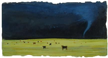 "Cows May Safely Graze, 3 3/4""x 6 7/8"", oil on pape"