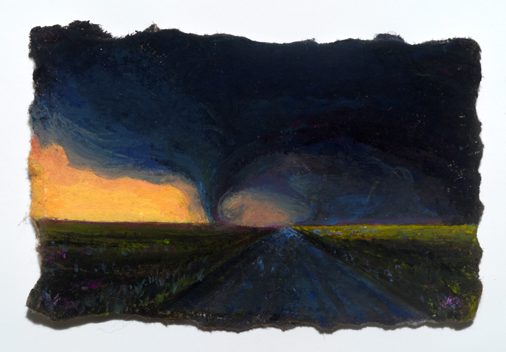 "Little Dark Highway, 2 1/4""x3 1/4"", oil on paper"
