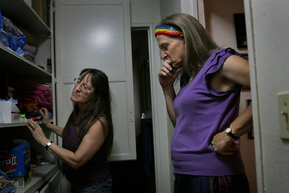 "Elena holds back tears as Zing searches for her belongings in a hall cupboard. After healing from her genital reassignment surgery, Elena decided she needs a lover who identifies as a lesbian - just as she does. ""I offered it,"" said Zing, ""and each time I offered, I'd say, let's experiment, let's see what it's like, let's explore what each other likes with our bodies... it would be rebuffed or ignored. It was like I wasn't being heard. So what do you do when you're not being heard?""  After days of conversations, Zing chose to move out of their apartment."
