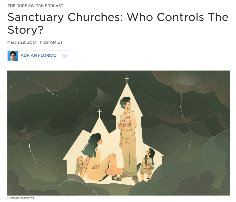 Illustration:  Chelsea Beck   Art Direction: Ariel Zambelich  Story:  Sanctuary Churches: Who Controls The Story?