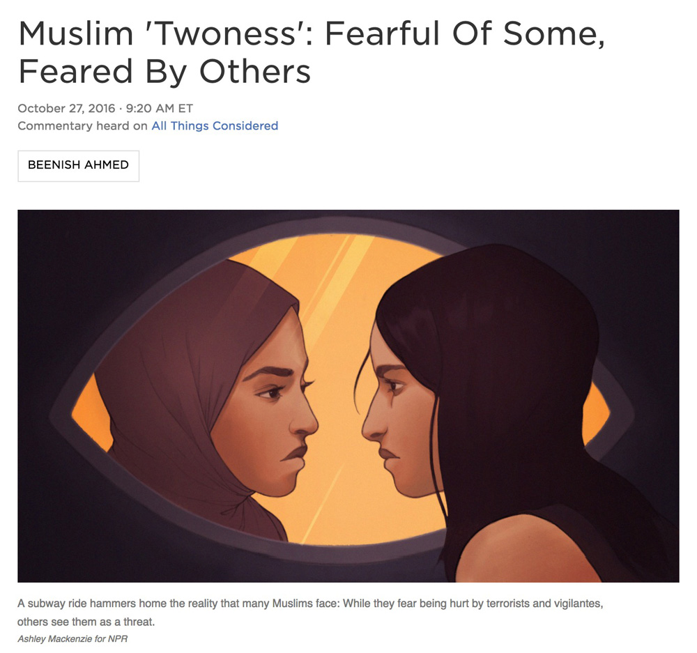 Illustration:  Ashley Mackenzie   Art Direction: Ariel Zambelich  Story:  Muslim 'Twoness': Fearful Of Some, Feared By Others