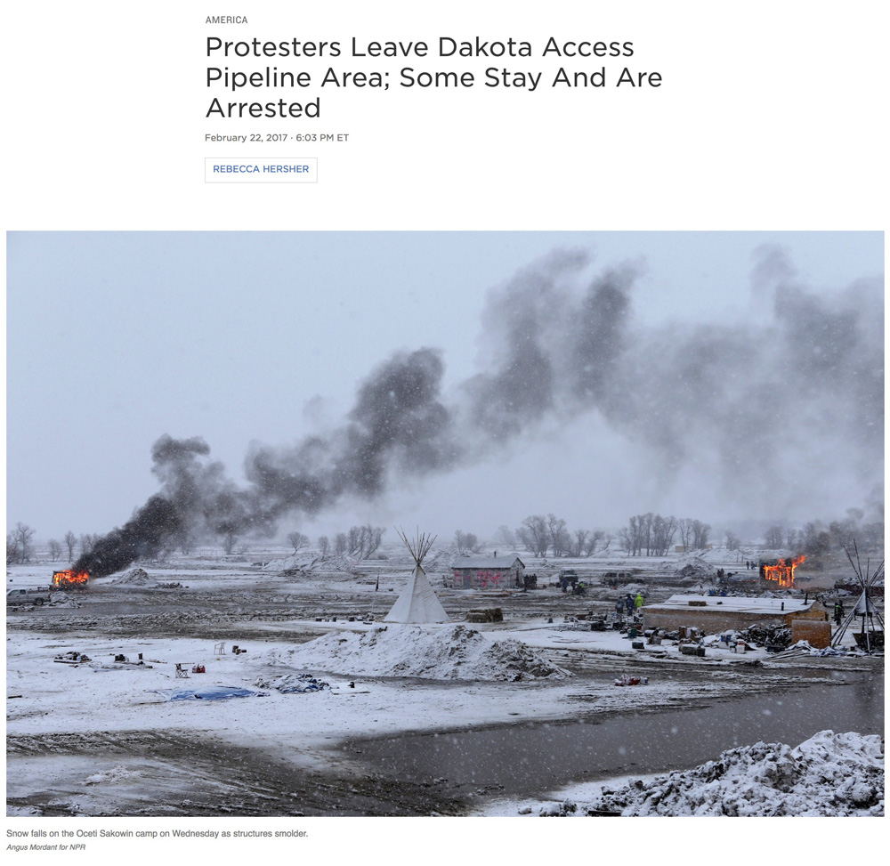 Photography:  Angus Mordant   Photo Editing + Direction: Ariel Zambelich  Story:  Protesters Leave Dakota Access Pipeline Area; Some Stay And Are Arrested